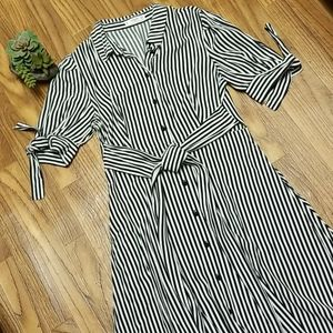 MANGO B & W Striped shirt dress with bow sleeves